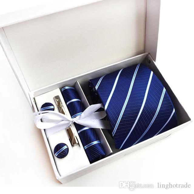 Новое поступление шелковые полосатые мужчины галстуки шеи галстук набор тканых формальных носок деловая свадьба классический гомбера Граватас K16