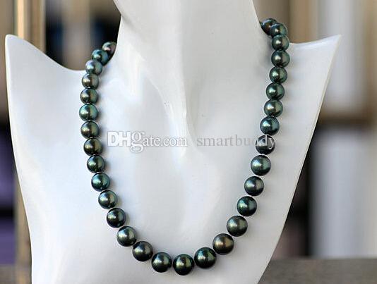 Perles fines Bijoux Noir Tahitien 10-12mm Positif Cercle Minimal Ultime Gloss Bleu Paon Vert Perle Collier Sud 19inches 925silver