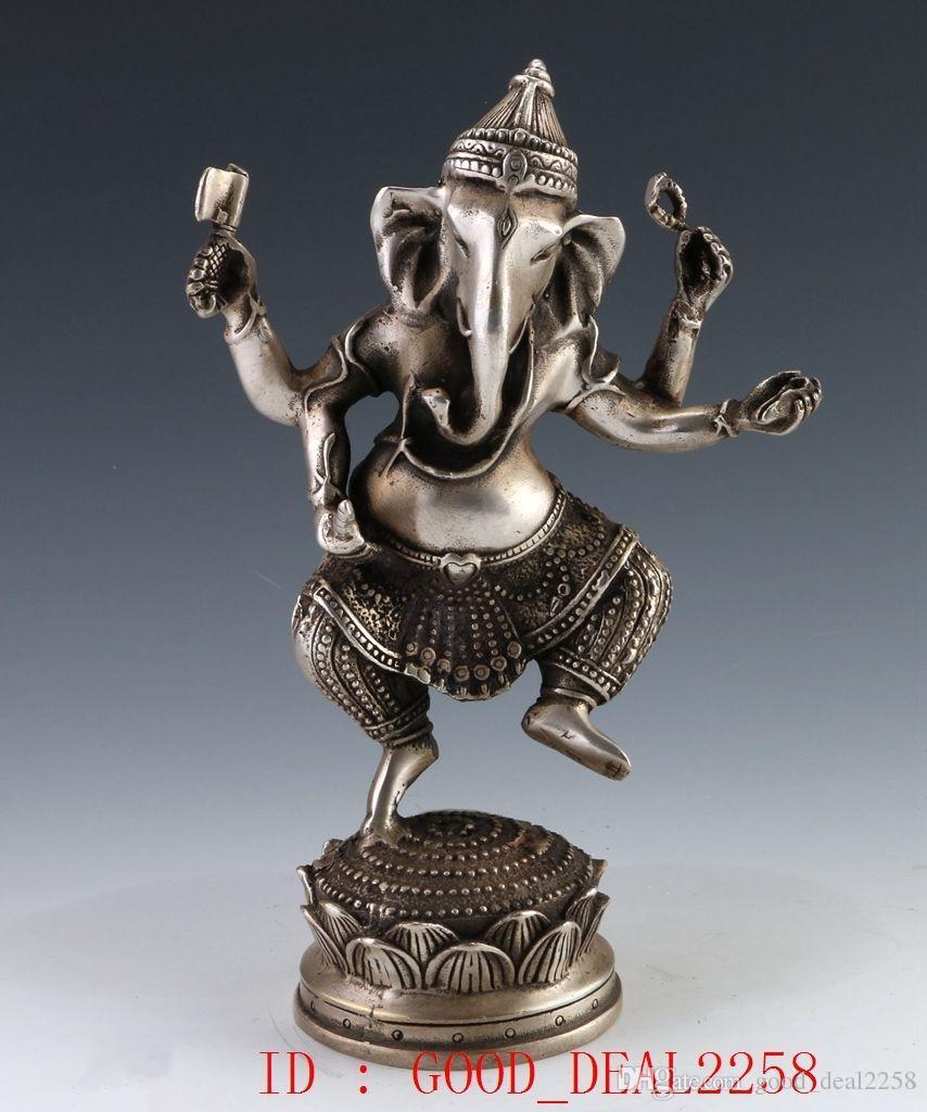 Collezione Folk Art Oriental Vintage argento tibetano Scolpito a mano statue articoli a quattro bracci di elefante