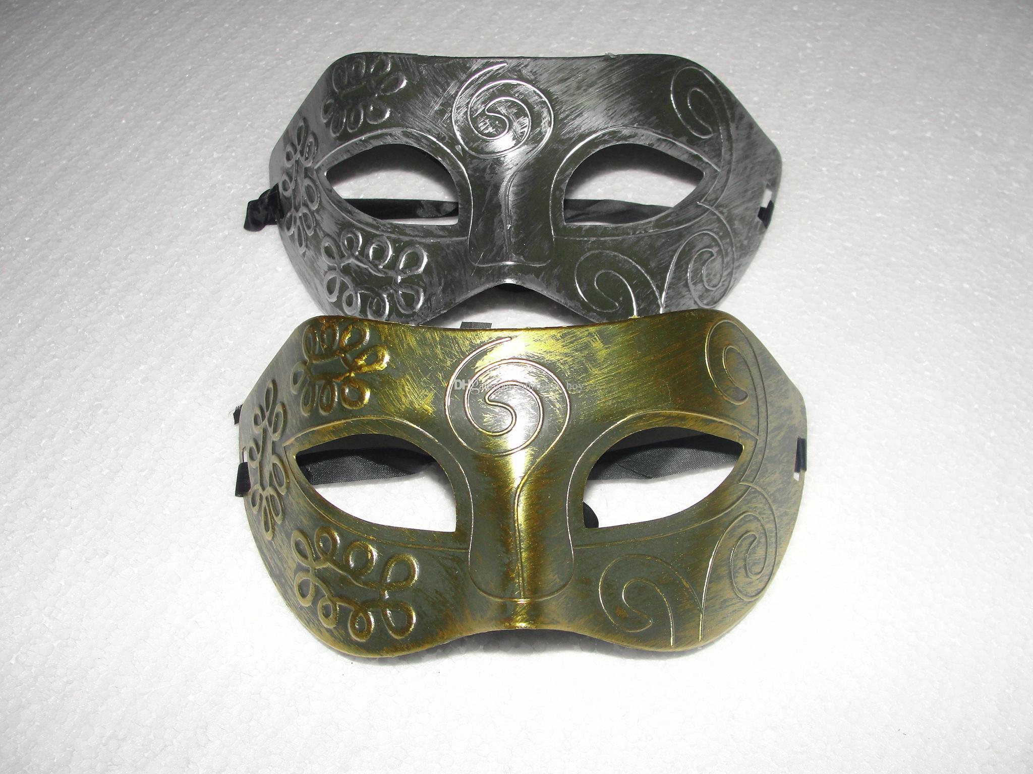 Men/'s One Size Retro Gladiator Masquerade Mask White