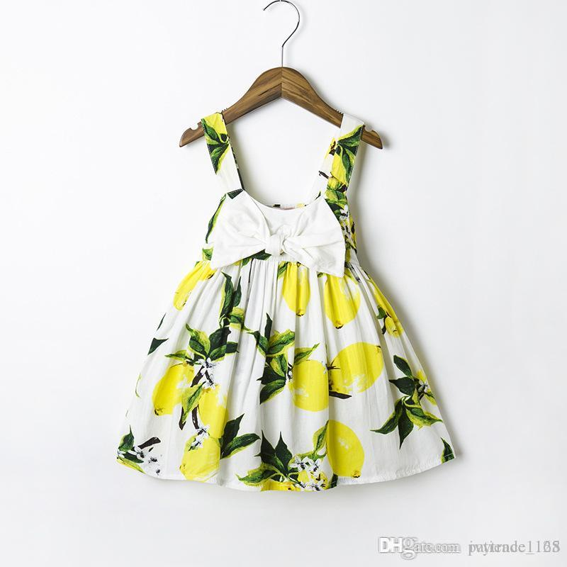 XCR15 INS-Art- und Weisekindkinder Mädchen-Zitronen-Kleid-Prinzessin Bow Kleid-Mädchen-Partei-elegantes Blumenkindkleid 2 Farben