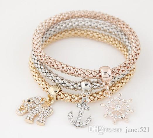Elástica pulseras de palomitas de maíz de la rueda de dirección del ancla elefante oro / plata / oro rosa regalos de la joyería Mujeres Niñas estiramiento de la cuerda de la cadena