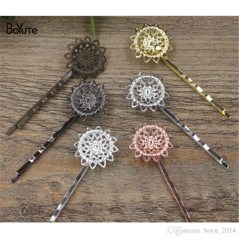 BoYuTe 20Pcs 21MM HOT Sale Filigree Flower Hair Jewelry 6 Colors Plated Hair Clips for women