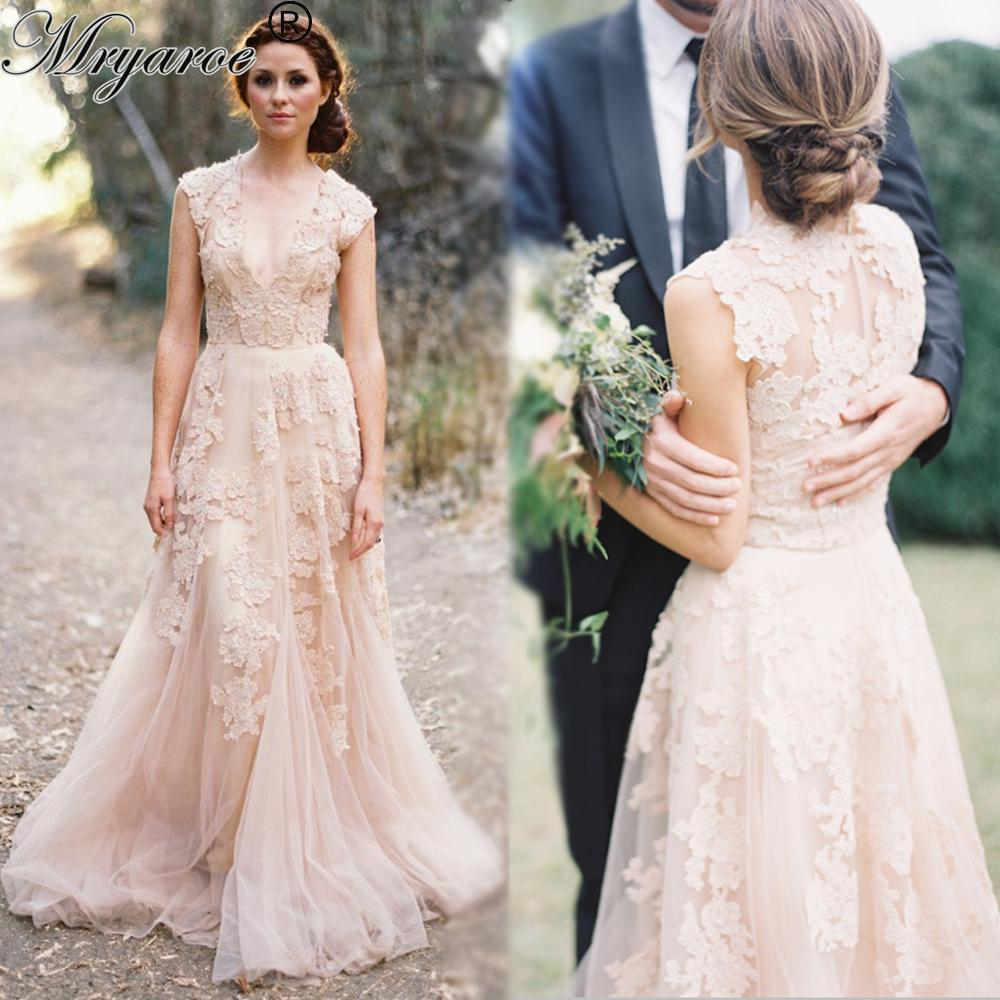 Discount Vintage Lace Boho Wedding Dress Cap Sleeve Deep V Neck Champagne Tullle A Line Reem Acra Bridal Gowns A Line Short Wedding Dresses A Line