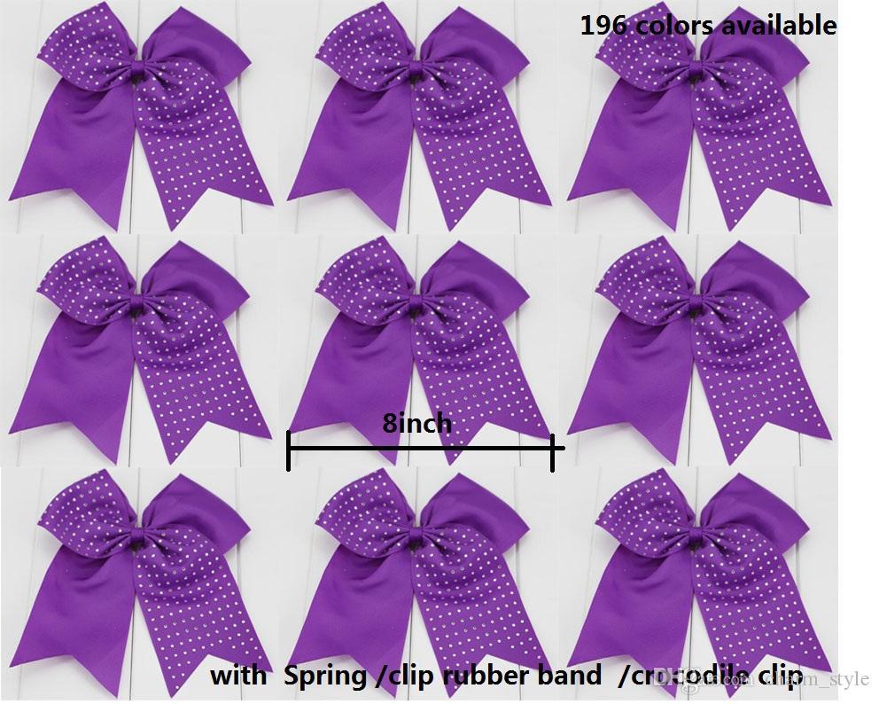 SALE girls exaggerated 8 Inch jojo Hair Bows Elastic Ties Spring clip Cheerleading Cheer Bow Grosgrain Ribbon Bow Hair Accessories 24pcs/