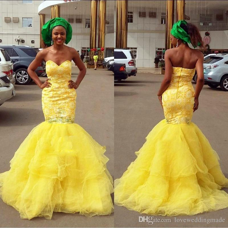 2017 South African Yellow Mermaid Wedding Dresses Ruffles Tulle Applique Lace Bridal Gowns Robe De Mariage For Chuch Formal Gowns Bridal Gown