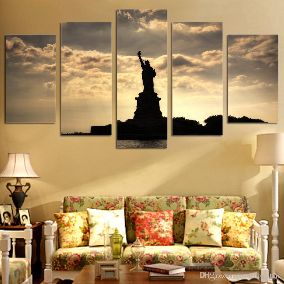 5Pcs/Set Framed HD Printed American Statue of Liberty Wall Art Canvas Print Poster Canvas Pictures Abstract Oil Painting
