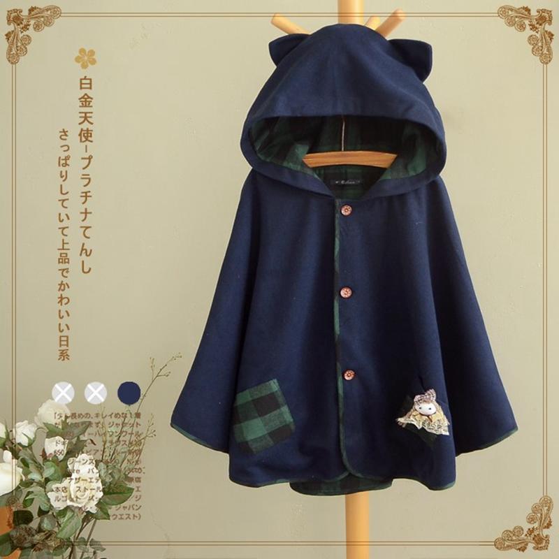 Wholesale- 2017 Winter New Women Jacket Japanese Style Mori Girl Loose Long Sleeve Cute Cat Ear Hooded Woolen Cloak Outerwear Casual Coat