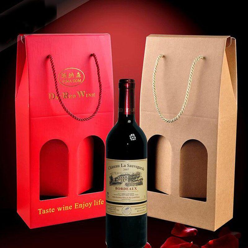 Rotwein Kraftpapier Box Doppel Standard Verpackung Geschenk Taschen Tragbaren Griff Mit Fenster Weihnachten Hochzeit Bevorzugungen ZA3282