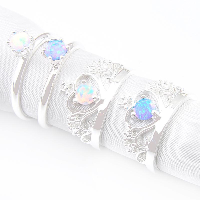 Mix 4pieces 1 Lot classique de vacances Bijoux Couronne Blanc Bleu Opale de feu Argent 925 anneaux pour Party Souvenirs