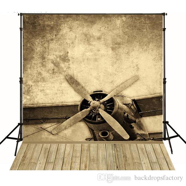 Vieux Style Avion Garçon Photographie Contexte Rétro Vintage Enfant Studio Fond Bois Plancher Nouveau-né Studio Photo Shoot Wallpaper