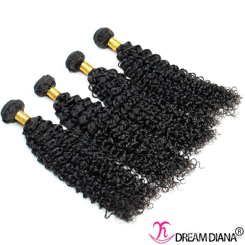 Estensioni brasiliane dei capelli umani ricci ricci brasiliani Capelli vergini non trattati Tessuto dei capelli brasiliani 3/4 Bundles Remy Same Direction Cuticle Grado 10A