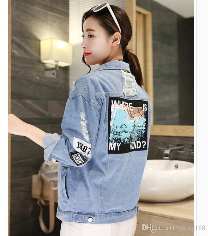 buying new fine craftsmanship shop for authentic Boyfriend Style Fashion Vintage Wash Water Oversized Denim Jacket  Embroidery Letter Patch Loose Hole Ripped Jeans Jacket Women Overcoats Mens  Man ...