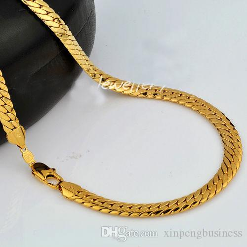 """18K 9CT Yellow Real SOLID GOLD GF Open LINK Wide 9mm CHAIN NECKLACE 23.6"""" sp88 MENS WOMANS Jewelry Flourishing"""