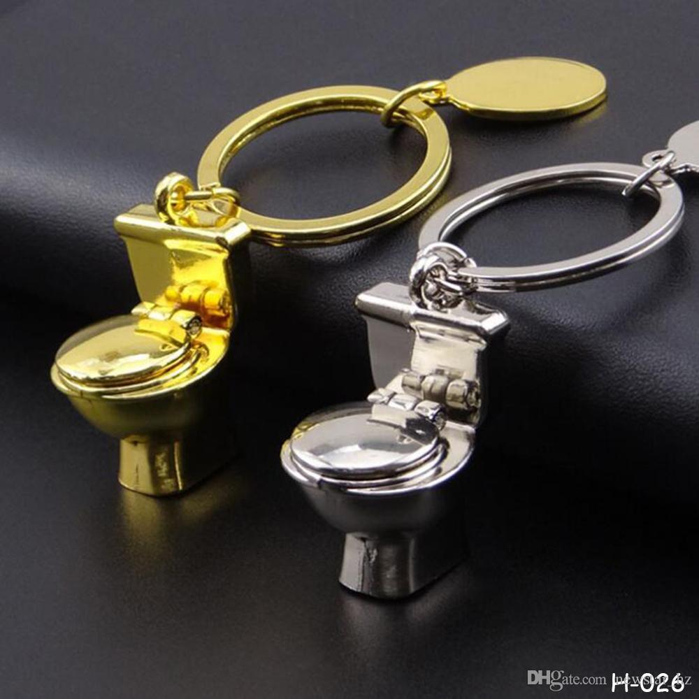 Metal Keychains Creative Gourd Keyfob Poker Guitar Flush Toilet Zinc Alloy Keychain Keyrings Couples Key Chain Bag Decor