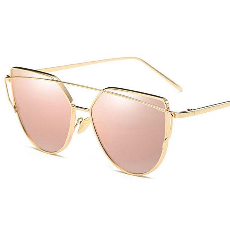 أفضل أزياء الساخنة العلامة التجارية النساء نظارات شمسية نظارات الذهب عين القط نظارات HD مرآة الوردي النظارات الشمسية أنثى خمر النظارات حزب السفر بالجملة