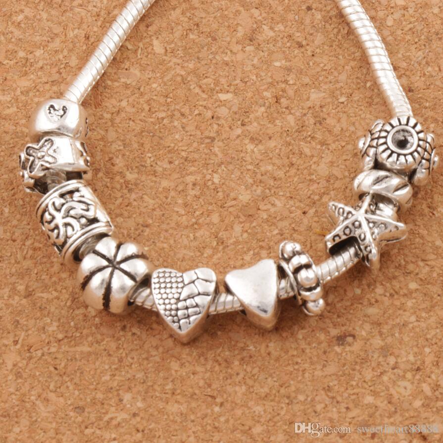 Trevligt design hjärta stort hål spacer pärlor 140pcs / mycket tibetansk silver passform charm armband smycken diy metaller lösa pärlor lm37