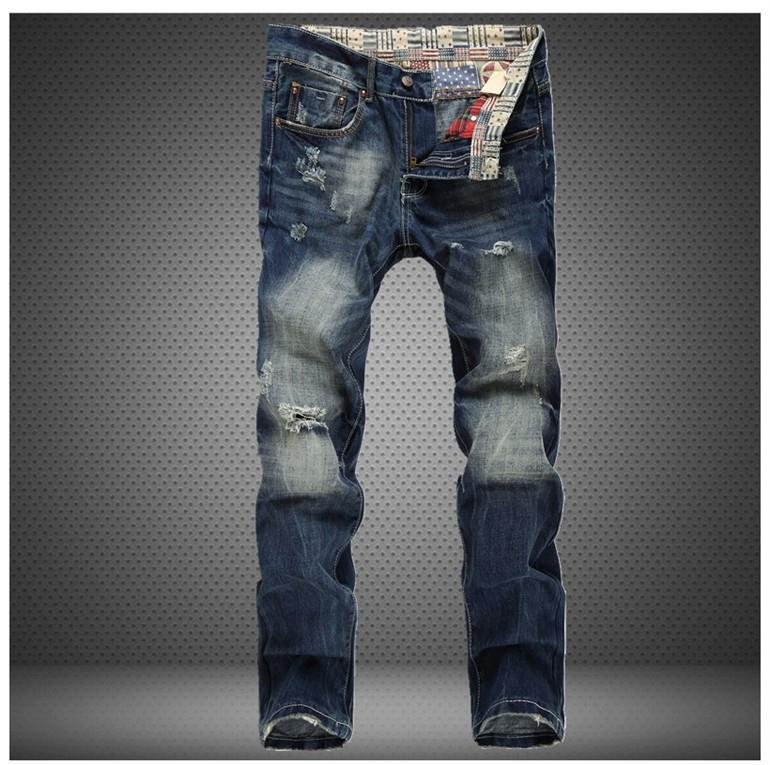 Jeans diritto del foro sottile all'ingrosso-All'ingrosso dei jeans strappati graffiati graffiati dei jeans degli uomini di marca degli uomini 2016 pantaloni casuali magri del progettista di modo 30-38