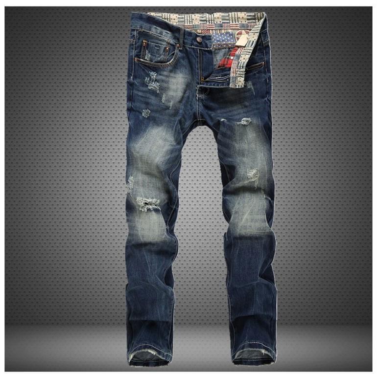 Toptan-Düz İnce Delik Kot Kot 2016 Erkek Marka erkek Çizik Kot Pantolon Yırtık Moda Tasarımcı Sıska Rahat Pantolon 30-38