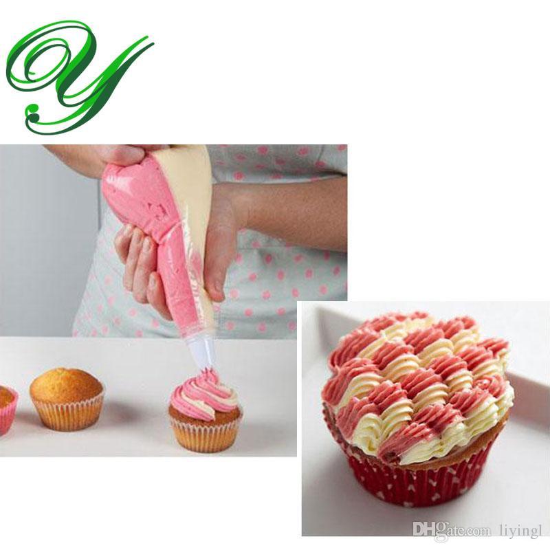 اثنان لون الجليد كيس كيس الفولاذ فوهات خبز أدوات كعكة ديي مختلط الألوان الضغط كريم متعدد الأشكال الزهور فندان تزيين