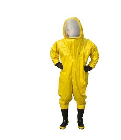 Ağır Tip Tamamen Kapalı Kimyasal Koruyucu Suit Sarı