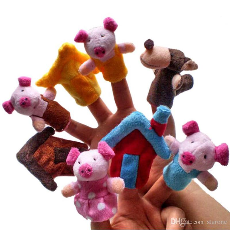 Wholesale 8Pcs Three Little Pigs Finger Puppet Children Educational Fairy Tale Toy Plush Hand Puppet Fast Shipping