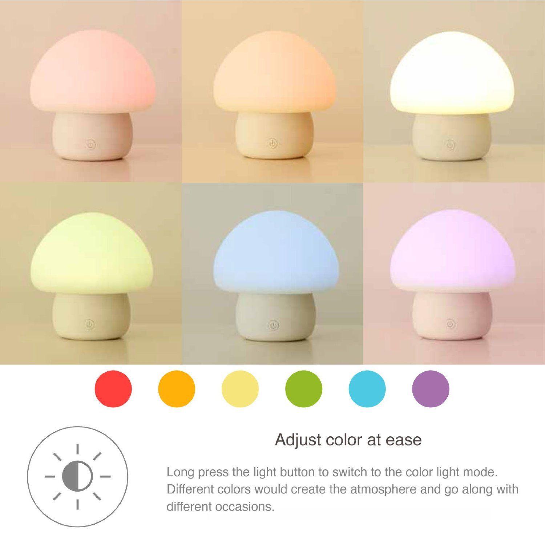 Smart LED Colorful Mushroom Touch Lamp Night Light,Mini Portable Touch Sensor Mushroom Atmosphere Table Desk Light