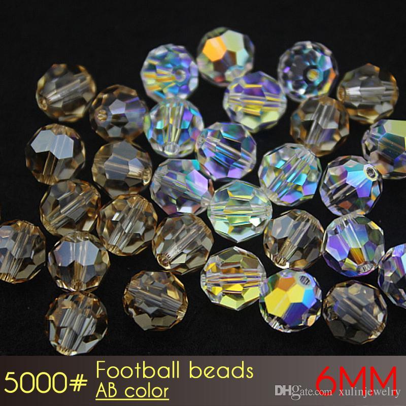 卸売価格フットボールビーズ32ファセットガラスチェコビーズ6mm Ab色A5000 100ピース/最高品質のドリルクリスタルビーズ