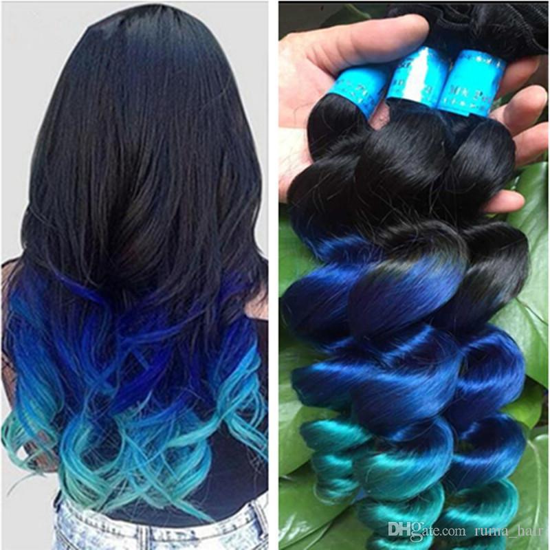 جديد وصول أومبير فضفاض موجة الشعر مل 3pcs لوط ثلاثة لهجة 1B أزرق أخضر أومبير البرازيلي متموجة الشعر نسج حزم الإنسان