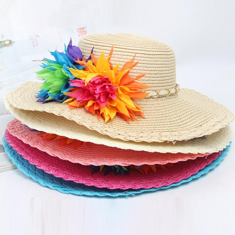 d2d43f05 Fashion 2017 Baby Sun Hat Summer Girls Beach Hats Outdoor Girls Kids Flower  Bucket Hat Soft Weave Straw Hat Toddlers Baby Girls