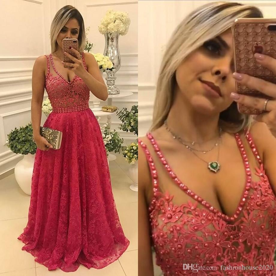 Sexy Long Red Lace Prom Dresses 2017 Sheer V Neck Applique Pearls Sexy Backless Formal Dress Cheap Evening Party Gowns