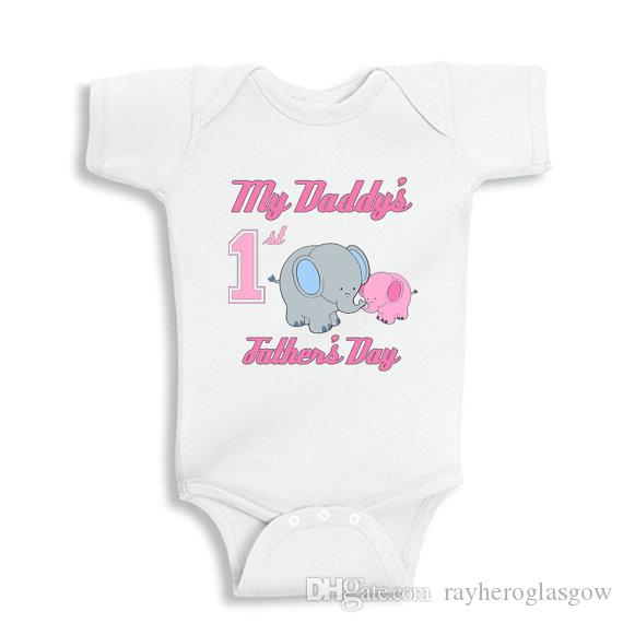 Attractive 2018 My Daddys First Fathers Day With Elephants Baby White Cotton  NB72