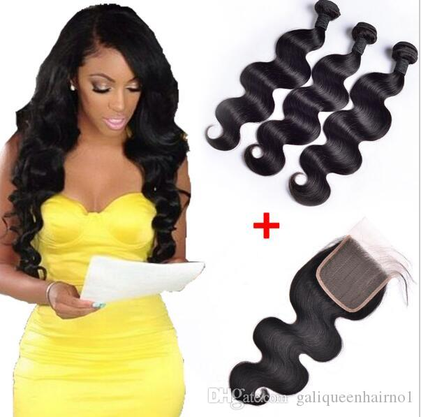 Brazilian Body Wave Human Virgin Hair Weaves With 4x4 Lace Closure Bleached Knots 100g/pc Natural Black Color Double Wefts Hair Extensions
