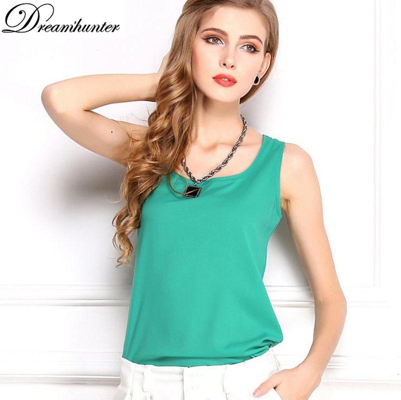 Wholesale- Plus Size Chiffon T Shirt Women Tops Summer Sleeveless Vest Shirt Blusa O-Neck Camis T-Shirt Casual Camisas Mujer Harajuku