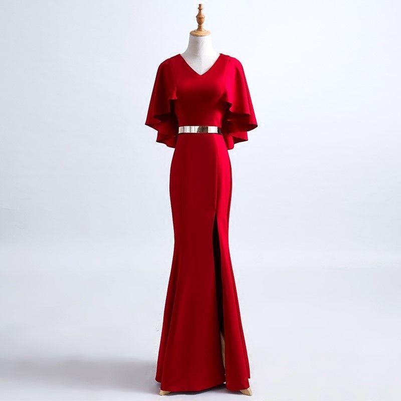 Real Photo Taffeta V-Neck Mermaid Ruffles Sash Zipper Split Side Long Prom Dress Vestido largo longue robe Vestido Longo Plus Size Onepiece
