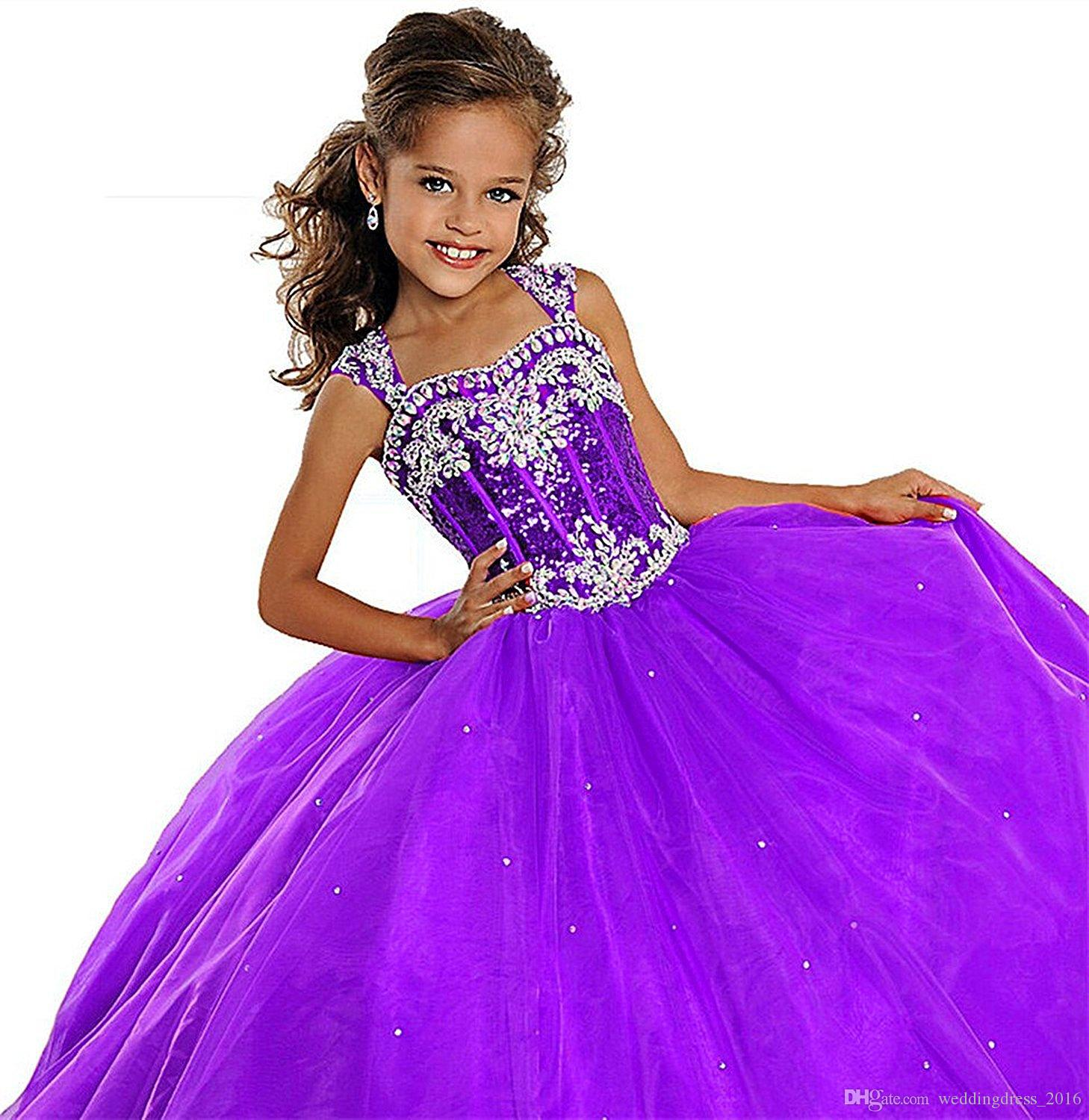 Sequins Straps Christmas Little Girls Pageant Dresses Custom Made ...