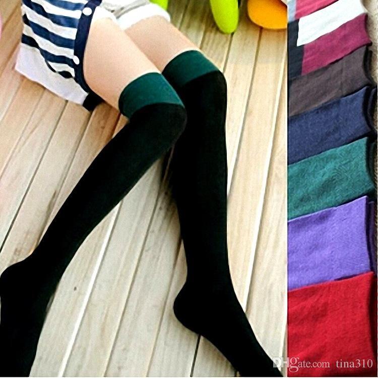 Новый горячий продавать красочные модные сексуальные носки Женские цвета соответствия кучи кучу гетры высокие чулки 3942