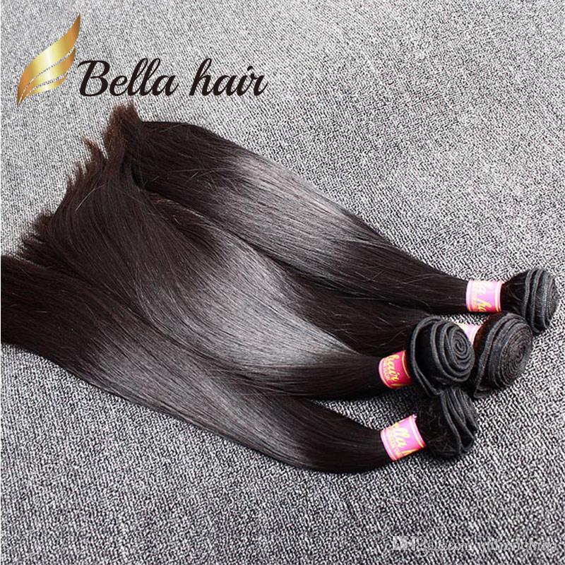 Malaysiska hårväft 3st / mycket Straight Weave Natural Black Color Bellahair