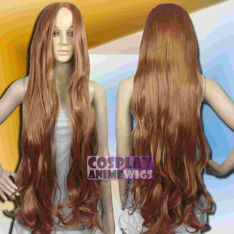Parrucche sintetiche a coste lunghe ondulate color marrone chiaro da 100 cm G_LLB