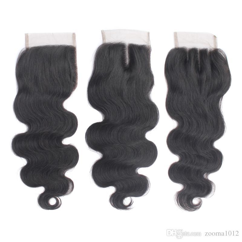 """Vierge Péruvienne Cheveux Humains Top Dentelle Fermetures Partie Libre 4 """"X4"""" Brésilien Corps Vague Dentelle Fermeture Pièce Naturel Noir 1B Doux Remy Cheveux"""