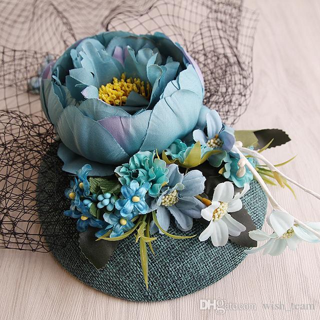 2018 Nuevo Diseño Turquesa Sinamay Tela Base Flor de Lino Fascinator Velo de Novia Sombrero de Novia Fiesta SHow Moda Sinamay Pinza de Pelo