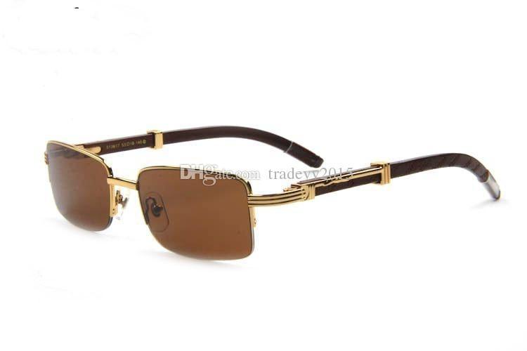 새로운 선글라스 남자 안경 골드 나무 다리 금속 프레임 블랙 버팔로 뿔 안경 lunettes 드 soleil 드 marque sunglases