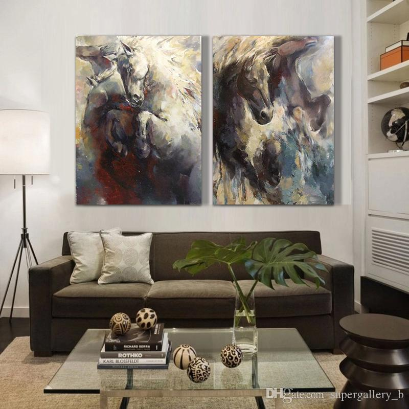 2 Panel Pure Hand Painted Modern Animal Art Oil Painting Horse,Home Wall Decor High Quality Canvas custom size