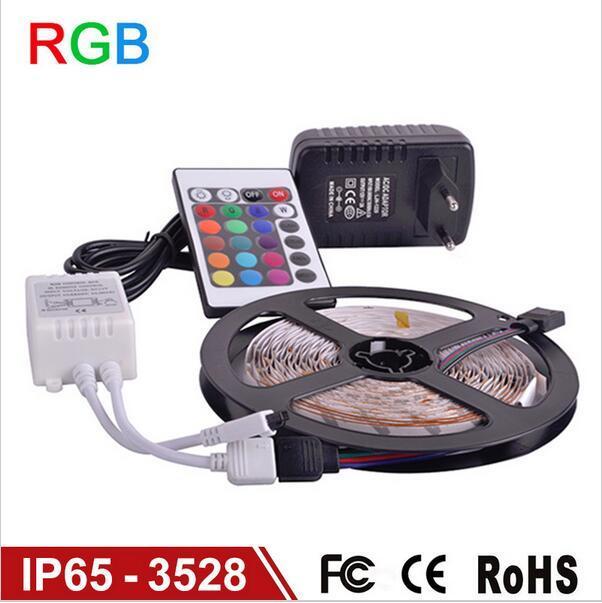 5 м RGB светодиодные полосы SMD 3528 водонепроницаемый 300 светодиодные полосы света + 24 клавиши ИК-пульт дистанционного управления + 12V 2A питания бесплатная доставка