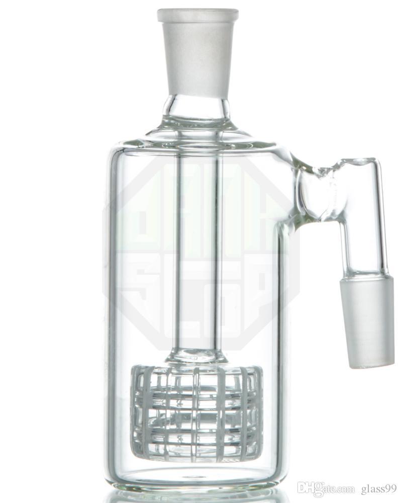 Dicker Aschefänger mit Stereo Matrix Perc 18 mm Gelenken rechtwinklig Aschefänger für Glasbongs Ölplattformen