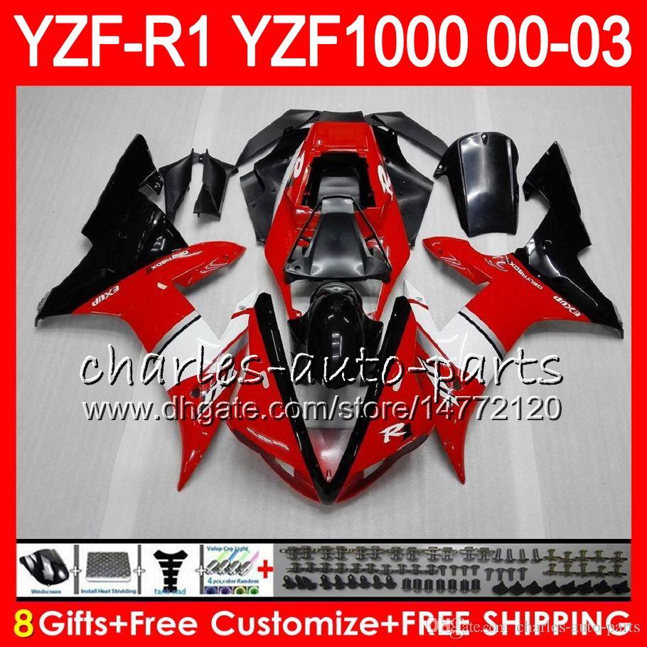 8gift 23Color-Körper für Yamaha-Oberteil Rot Schwarz YZF1000 YZFR1 02 03 00 01 YZF-R1000 62HM2 YZF 1000 R 1 YZF-R1 YZF R1 2002 2003 2000 2001 Verkleidung