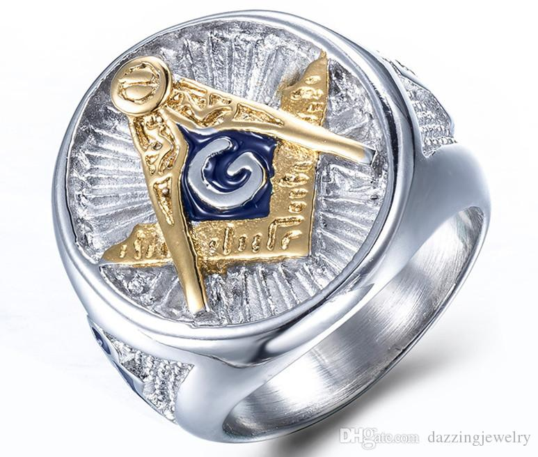 Best Quality New Gold Silver Stainless Steel Blue Enamel Freemason Masonic Ring Jewelry Free mason Signet Ring jewel for men Wholesale