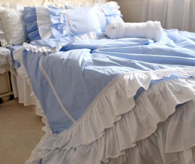 Ruffle lace blue plaid bed sets,twin full queen king 100%cotton,european princess home textile bedspreads pillowcase quilt cover