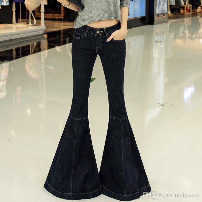 Moda Nueva Vintage Super Flare Jeans Sexy Low Rise Jeans Femme Plus Size 5XL Hippie Pierna ancha Pantalones de mezclilla Mujeres
