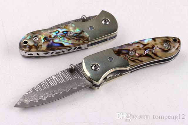 Damascus Small abalone (pure copper head) outdoor survival camping hunting knife wild gift 1pcs free shipping